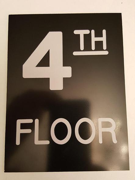 Floor number  - Four 4  Engraved Plastic-