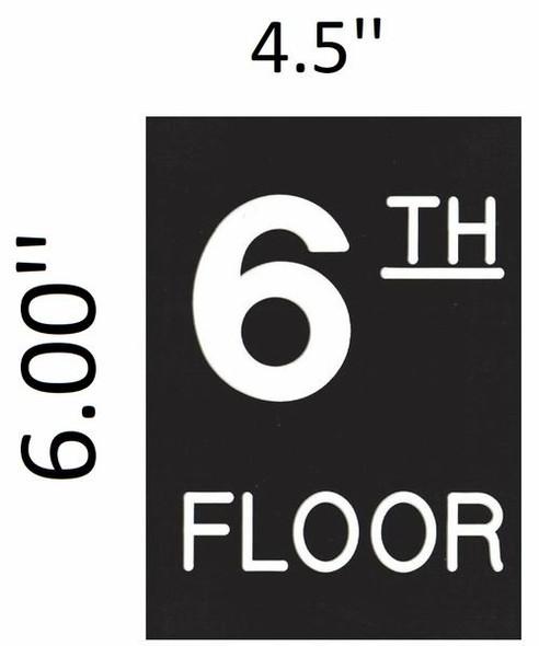 Floor number Six 6  Signage Engraved Plastic-