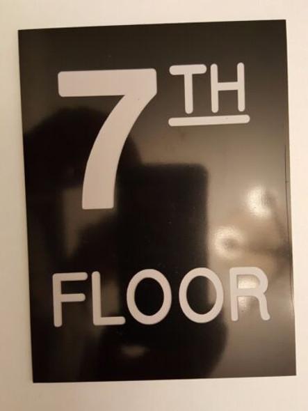 Floor number Seven 7  Signage Engraved Plastic-