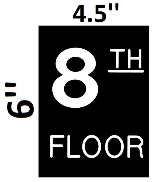 Floor number Eight 8  Engraved Plastic-