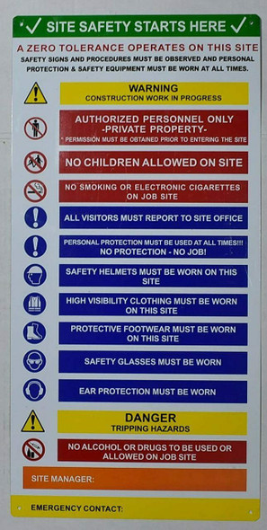 PPE Sign - Site Safety Start here Sign