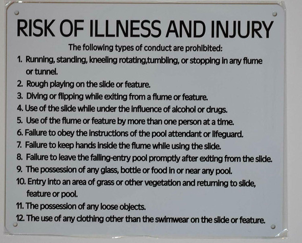 Pool Risk of Illness and Injury Notice  Signage