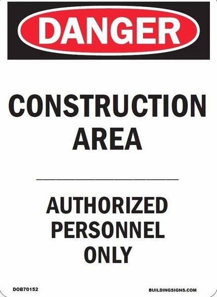 CONSTRUCTION AREA - AUTHORIZED PERSONS ONLY SIGN   Signage