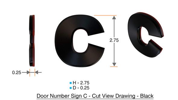 1 PCS - Apartment Number /Mailbox Number , Door Number . Letter C