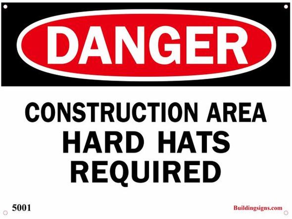 DANGER: CONSTRUCTION AREA HARD HATS REQUI SIGN