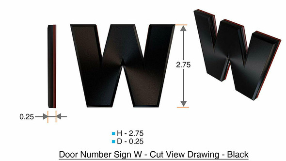 1 PCS - Apartment Number /Mailbox Number , Door Number . Letter W