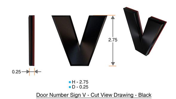 1 PCS - Apartment Number /Mailbox Number , Door Number . Letter V