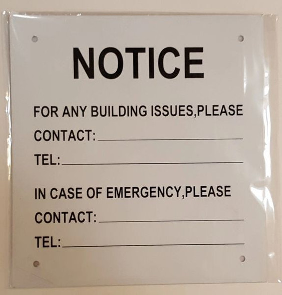 HPD Sign Notice: For any building issues please contact sign.EMERGENCY C
