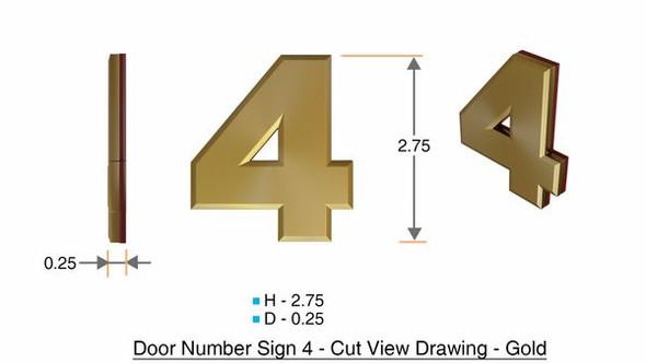 Apartment Number  Signage/Mailbox Number  Signage, Door Number  Signage. Number 4,3D, Size