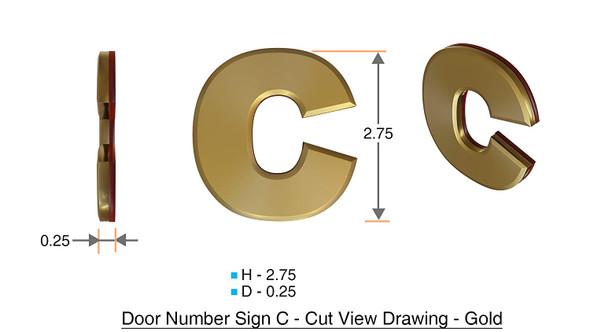 1 PCS - Apartment Number  Signage/Mailbox Number  Signage, Door Number  Signage. Letter C ,