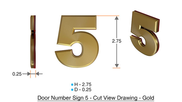 Apartment Number  Signage/Mailbox Number  Signage, Door Number  Signage. Number 5 ,3D,