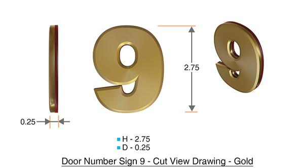 Apartment Number  Signage/Mailbox Number  Signage, Door Number  Signage. Number 9 ,3D,