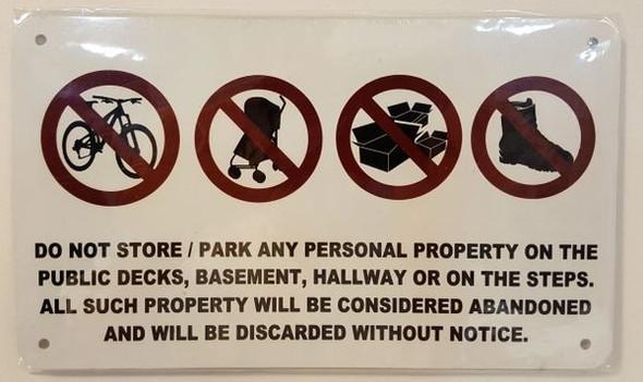 No Storage in Hallway Sign 8x5 NYC code 10  Sign