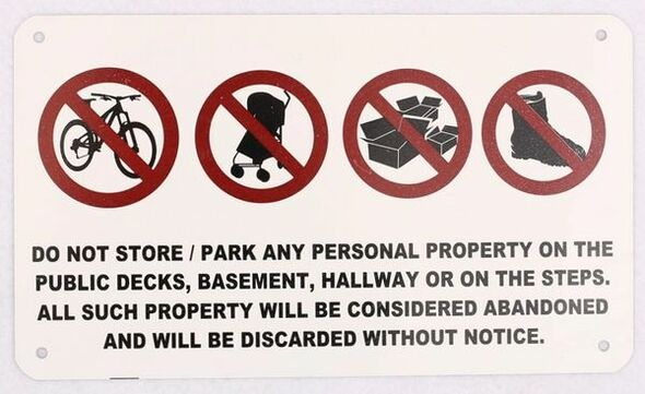 No Storage in Hallway Sign 8x5 NYC code 10