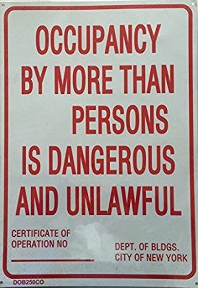 NYC Occupancy  Signage