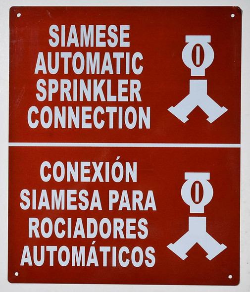 Siamese Automatic Sprinkler Connection Bilingual  Signage