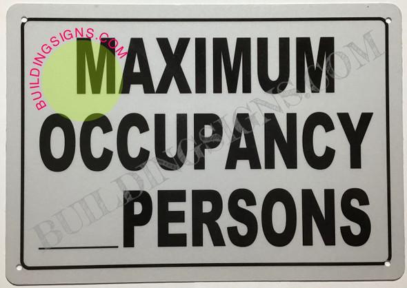 Maximum Occupancy sign Back