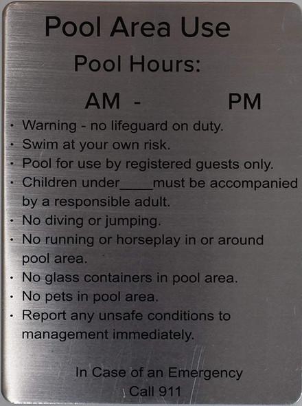 Pool Area use- Pool Hours  Signage