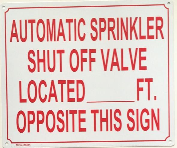 Automatic Sprinkler Shut-Off Valve  Signage