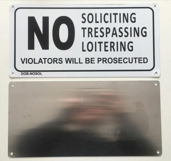 NO SOLICITING TRESPASSING ,LOITERING VIOLATORS WILL BE PROSECUTED