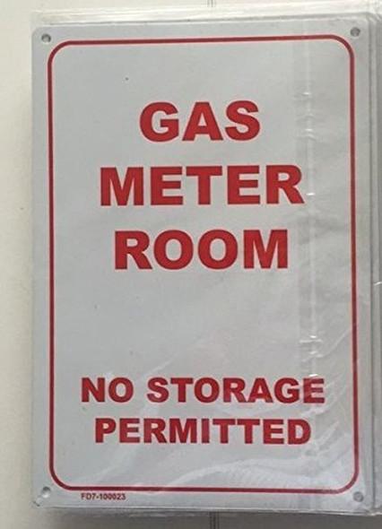GAS METER ROOM - NO STORAGE PERMITTED  Signage (WHITE 7X10 MINIUM )