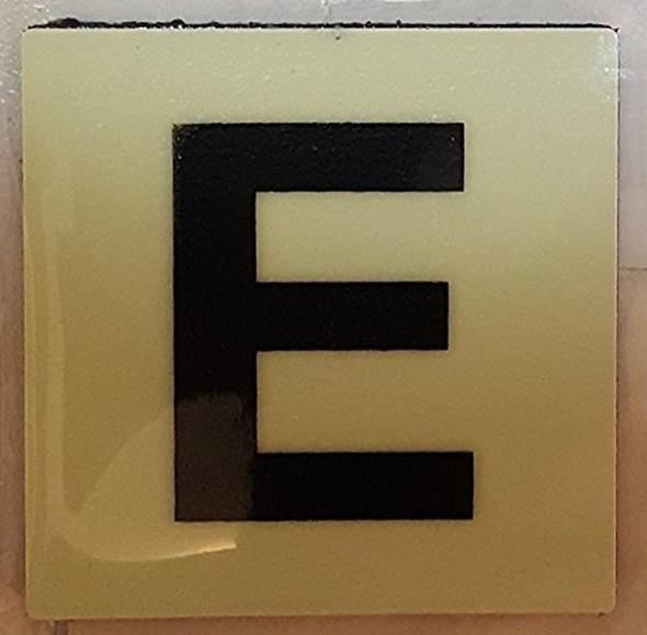PHOTOLUMINESCENT DOOR IDENTIFICATION NUMBER E  Signage HEAVY DUTY / GLOW IN THE DARK