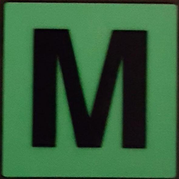 PHOTOLUMINESCENT DOOR IDENTIFICATION NUMBER M  HEAVY DUTY / GLOW IN THE DARK