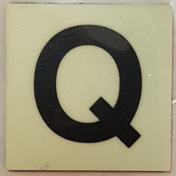 PHOTOLUMINESCENT DOOR IDENTIFICATION LETTER Q  Signage HEAVY DUTY / GLOW IN THE DARK