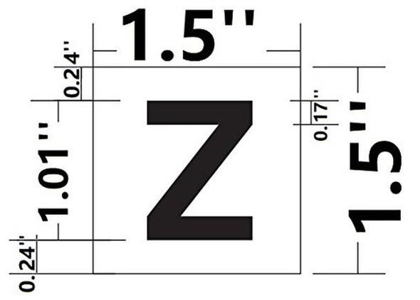 PHOTOLUMINESCENT DOOR IDENTIFICATION LETTER Z  Signage HEAVY DUTY / GLOW IN THE DARK