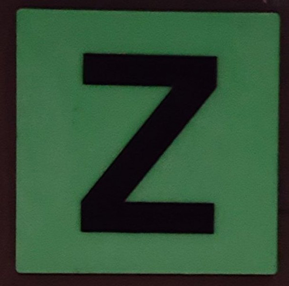 PHOTOLUMINESCENT DOOR IDENTIFICATION LETTER Z  HEAVY DUTY / GLOW IN THE DARK
