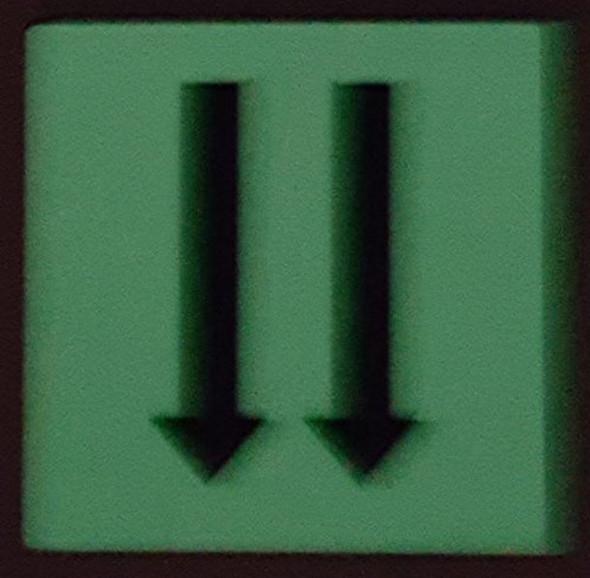 PHOTOLUMINESCENT DOOR IDENTIFICATION LETTER TWO ARROW DOWN  HEAVY DUTY / GLOW IN THE