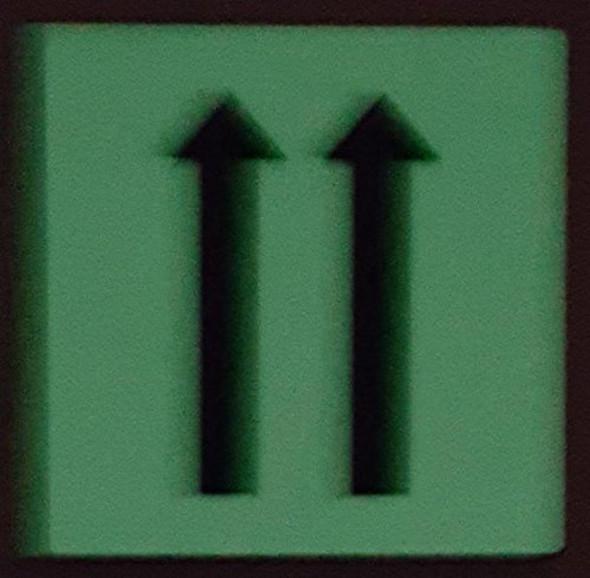 "PHOTOLUMINESCENT DOOR IDENTIFICATION LETTER ""Two Arrow Up""  Signage HEAVY DUTY / GLOW IN THE DARK"