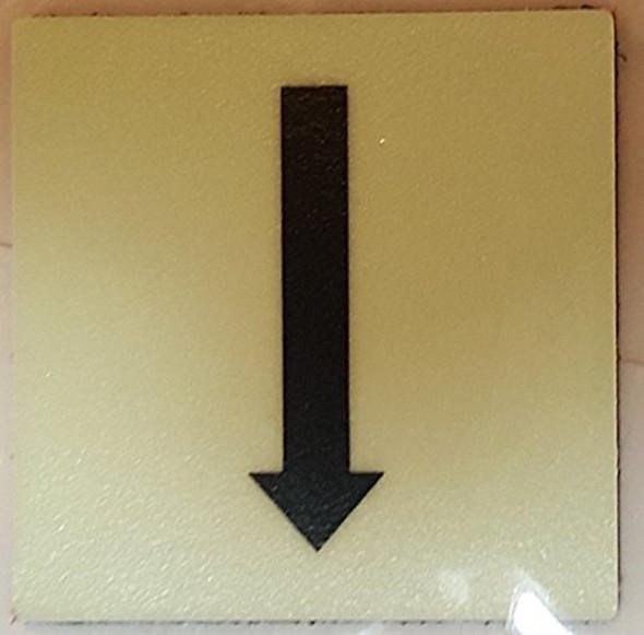 "PHOTOLUMINESCENT DOOR IDENTIFICATION LETTER ""One Arrow Down size""  Signage HEAVY DUTY / GLOW IN THE DARK"