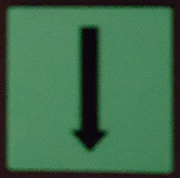 "PHOTOLUMINESCENT DOOR IDENTIFICATION LETTER ""One Arrow Down size""  HEAVY DUTY / GLOW IN THE DARK"