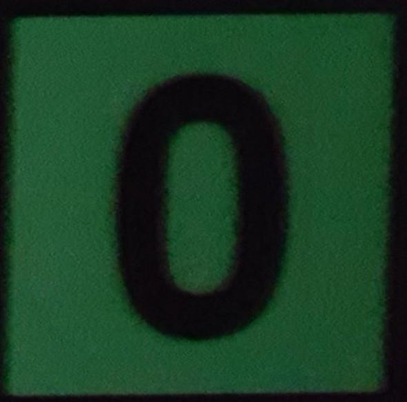 PHOTOLUMINESCENT DOOR IDENTIFICATION NUMBER 0 (ZERO)  HEAVY DUTY / GLOW IN THE DARK