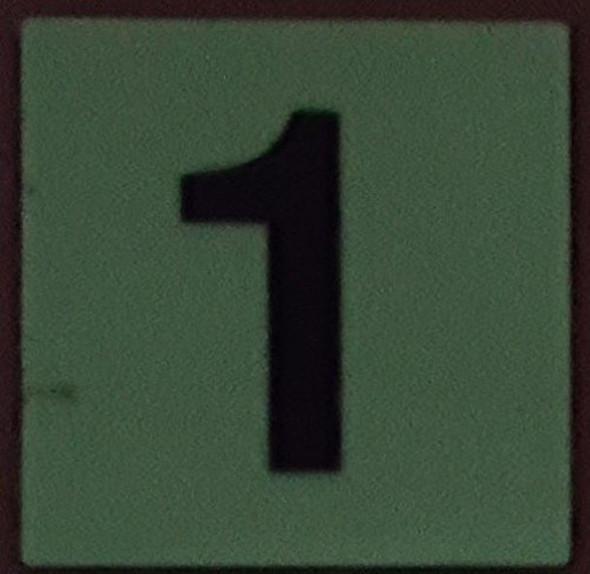 PHOTOLUMINESCENT DOOR IDENTIFICATION LETTER 1 (ONE)  HEAVY DUTY / GLOW IN THE DARK
