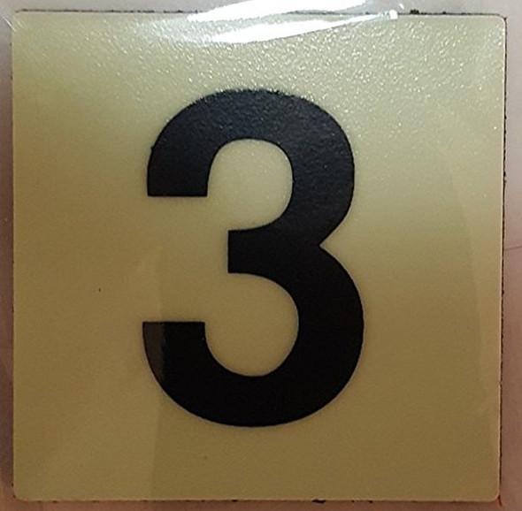 PHOTOLUMINESCENT DOOR IDENTIFICATION NUMBER 3 (THREE)  Signage HEAVY DUTY / GLOW IN THE DARK