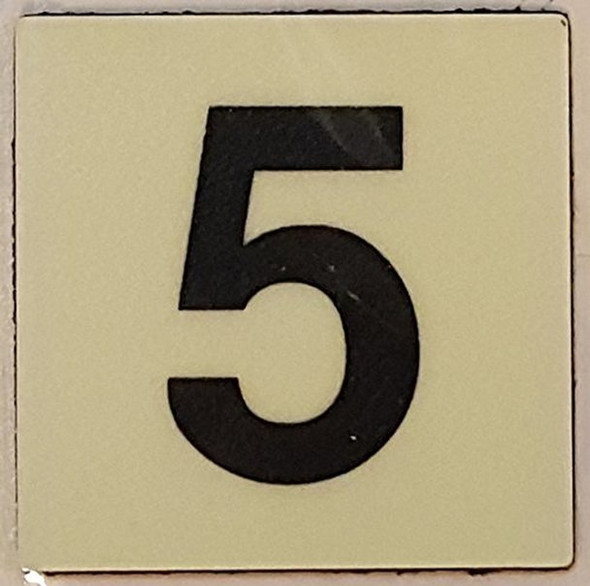 PHOTOLUMINESCENT DOOR IDENTIFICATION LETTER 5 (FIVE)  Signage HEAVY DUTY / GLOW IN THE DARK