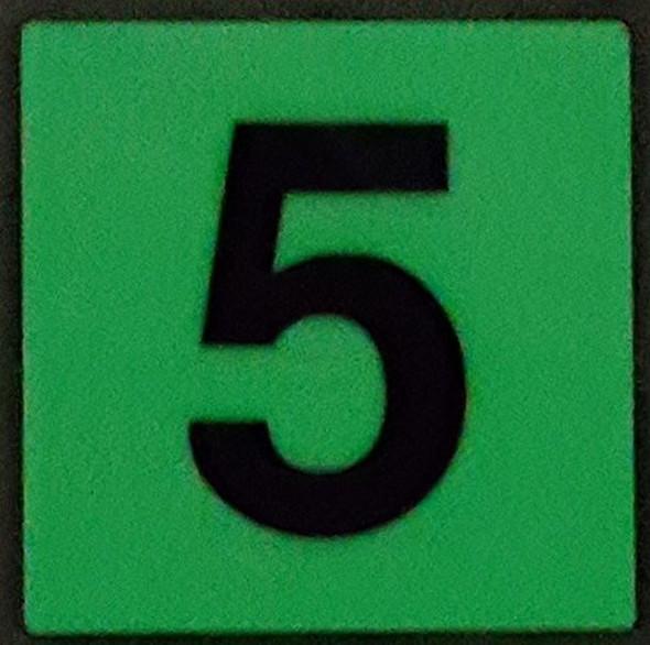 PHOTOLUMINESCENT DOOR IDENTIFICATION LETTER 5 (FIVE)  HEAVY DUTY / GLOW IN THE DARK