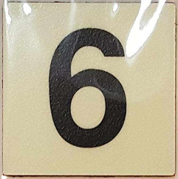 PHOTOLUMINESCENT DOOR IDENTIFICATION LETTER 6 (SIX)  Signage HEAVY DUTY / GLOW IN THE DARK
