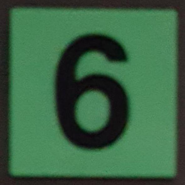 PHOTOLUMINESCENT DOOR IDENTIFICATION LETTER 6 (SIX)  HEAVY DUTY / GLOW IN THE DARK