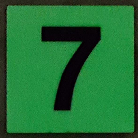 PHOTOLUMINESCENT DOOR IDENTIFICATION LETTER 7 (SEVEN)  HEAVY DUTY / GLOW IN THE DARK