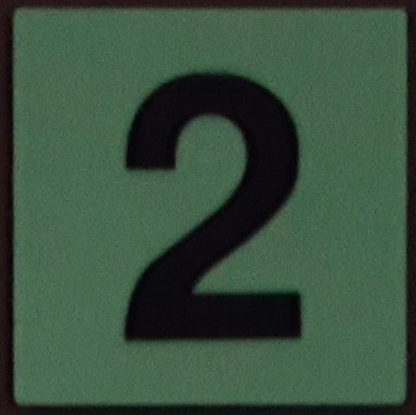 PHOTOLUMINESCENT DOOR IDENTIFICATION NUMBER 2 (TWO)  HEAVY DUTY / GLOW IN THE DARK