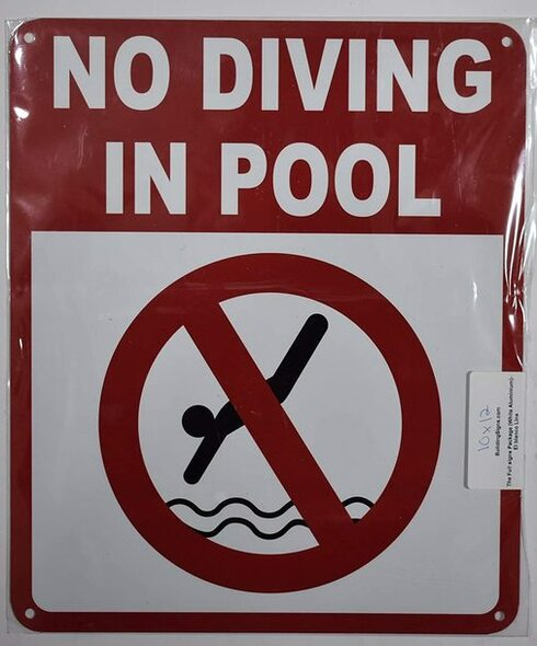 NO Diving in Pool  (White, 10X12)