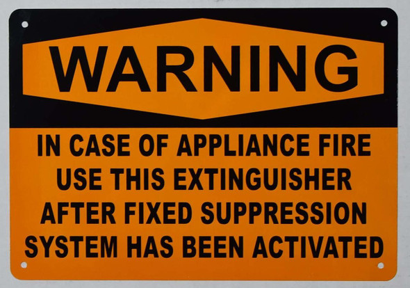 Warning in CASE of Appliance FIRE, USE This Extinguisher ONLY