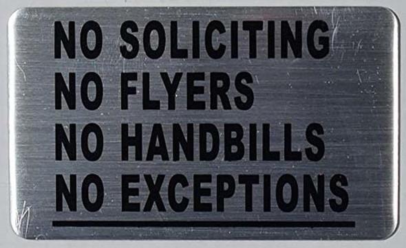 TWO PCS (2) NO SOLICITING NO FLYERS NO HANDBILLS  Signage.