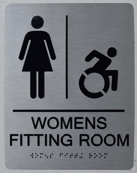 WOMEN'S FITTING ROOM ACCESSIBLE WITH SYMBOL