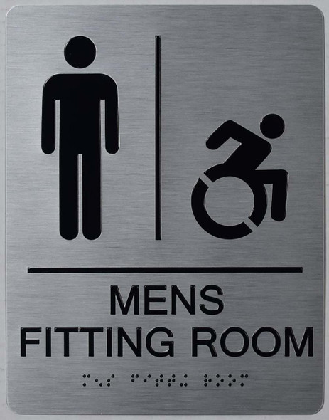 MEN'S FITTING ROOM ACCESSIBLE WITH SYMBOL  Signage ADA