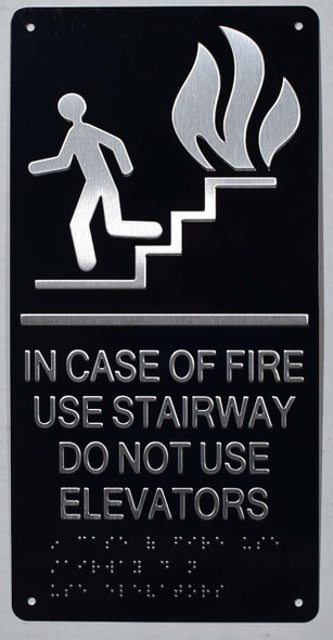 IN CASE OF FIRE USE STAIRWAY DO NOT USE ELEVATOR  Signage ada black