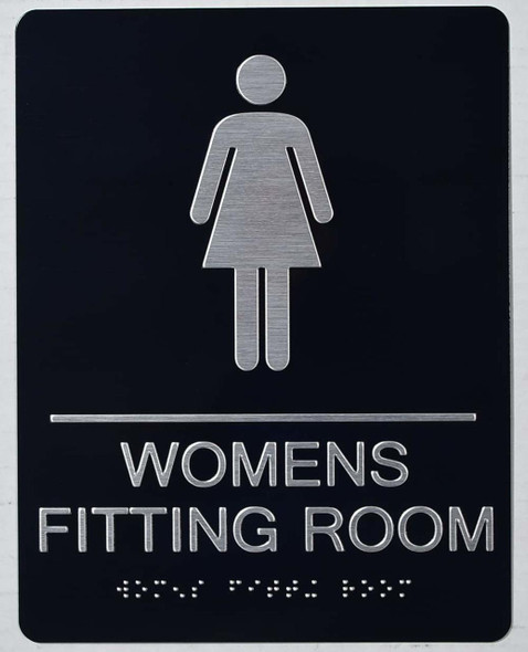 ada WOMEN'S FITTING ROOM ACCESSIBLE WITH SYMBOL BRAILLE  Signage